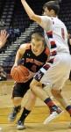 Layne Henderson drives past a Lingle defender during the 1A State Basketabll Championship game last Saturday in Casper.