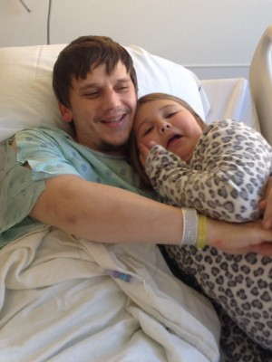 COURTSEY PHOTO Ben Werner and daughter Riley enjoy time together on one the occassions she has visited him at the hospital.